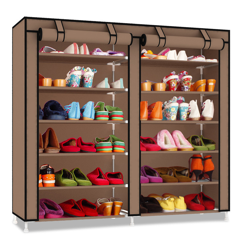 FREE shipping Simple Oxford cloth shoe racks multi - layer iron double - Dust cloth Parlor continental iron shoe multilayer simple stainless steel dust storage shoe iron shoe rack folding shelves