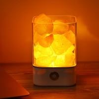 Night Light Crystal Light Natural Himalayan Salt Lamp Air Purifier Mood Creator Bedroom Decoration Bedside Children Lamp USB 5V