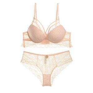 Image 5 - เซ็กซี่ Mousse SEXY Lace Padded Bra รวบรวมชุดชั้นในชุดผู้หญิง Lace Deep V Push Up Bra ชุด A B C D ถ้วย