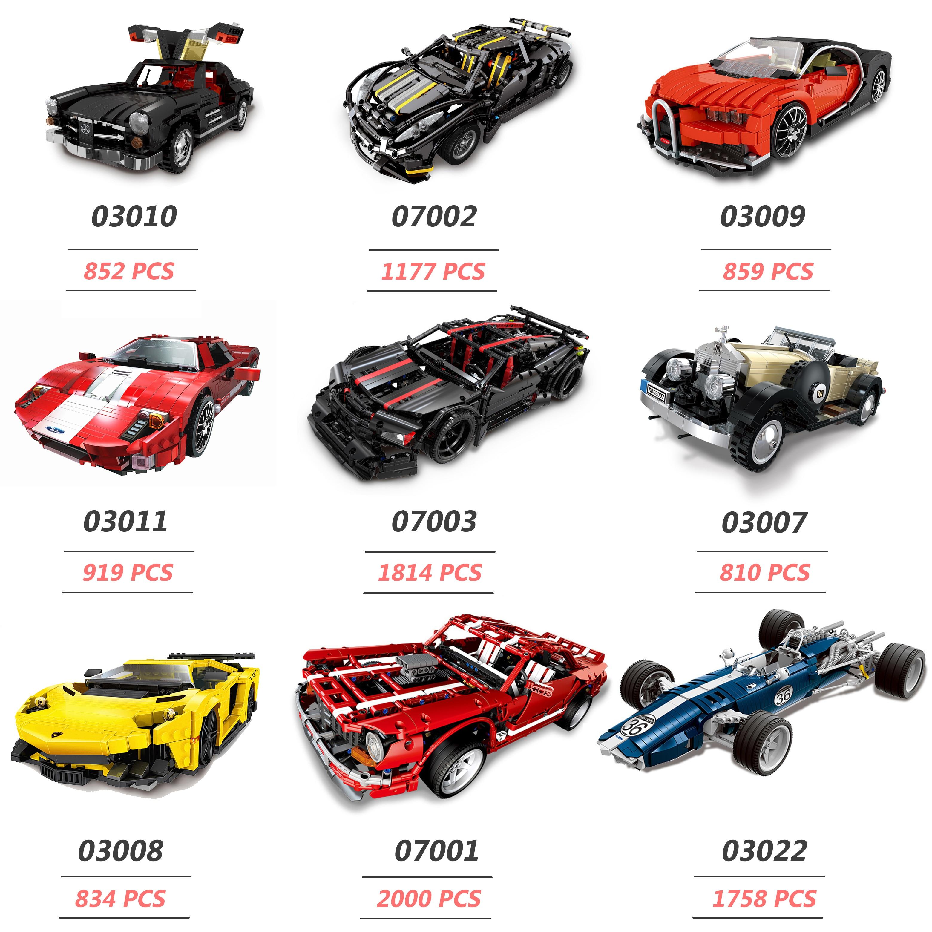 XINGBAO NEW TECHNIC Car Series 03022 03008 07003 The Noble Racing Car Sets Building Blocks MOC