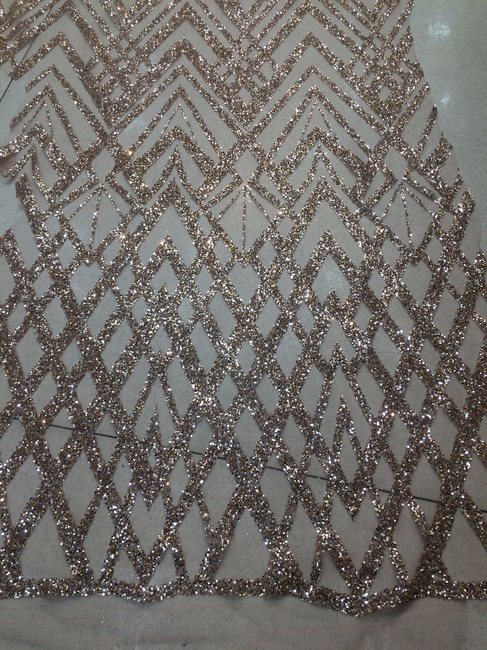 shining jianxi 31712 glitter sequins glued embroidery african tulle mesh fabric