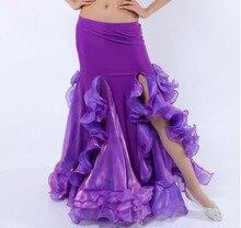 Falda de cola de pez para danza del vientre de las mujeres atractivas con abertura lateral púrpura rojo blanco azul Rosa Color sólido envío gratis