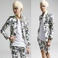 mens flower suit 2017 male thin long-sleeve slim blazer suit linen flower men suit floral