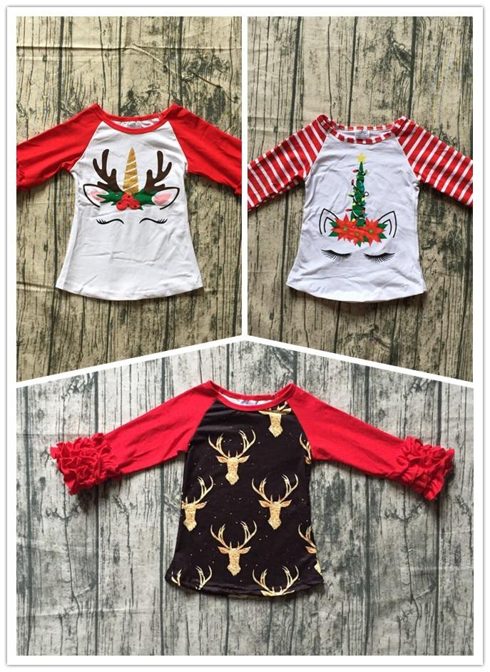 Navidad raglans del unicornio top raglans rayas rojas niños Halloween raglans niños niñas calabaza unicornio raglans
