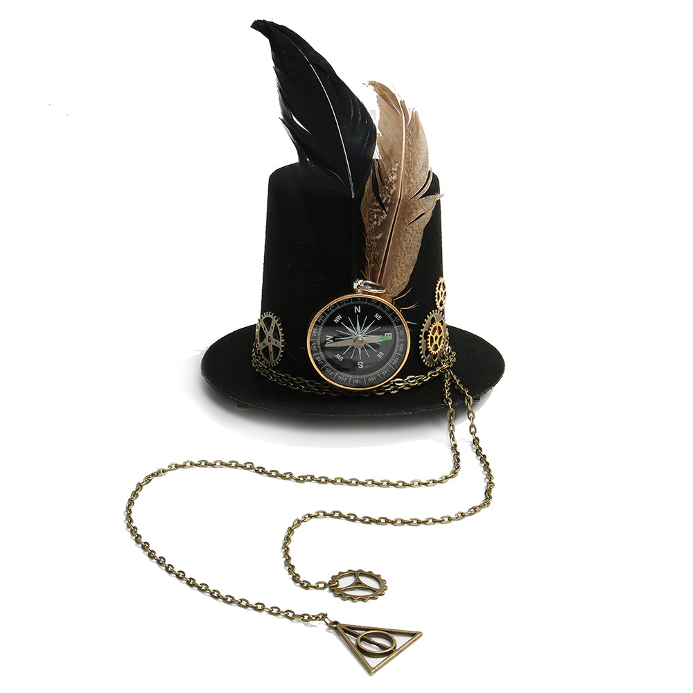 Womens Steampunk Mini Top Hat Vintage Fedoras Hat Gothic Gear & Compass Feather Chain Headwear Lolita Cosplay Little Hat Hairpin