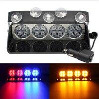 S16 High Power LED Car Front Glass Strobe Light Shovel Type Sucker Light Warning Light Flashing Light Police Light 3color