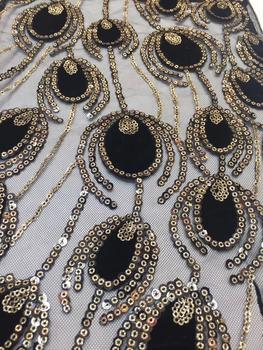 Black Gold African Lace Fabric 2019 High Quality French Velvet Lace Fabric With Sequins Lace Fabric For Wedding Party Z7