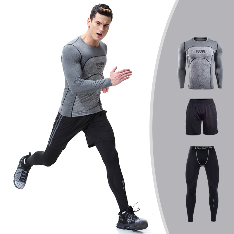 Mens Compression Shirt Set Bodybuilding Tight Long Sleeves Shirts Leggings shorts Suits MMA Crossfit Workout Fitness Sportswear