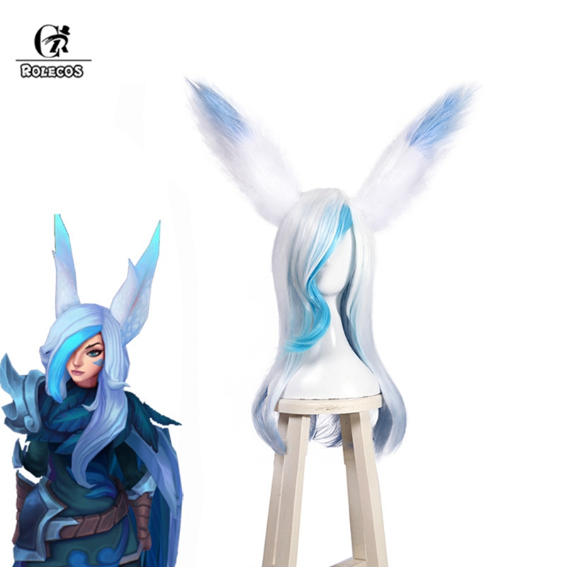ROLECOS LOL Xayah Cosplay   Headwear   The Rebel New Skin Cosplay Hair Blue and White Synthetic Hair for Women 60CM