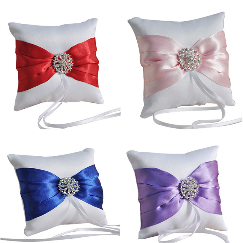 Multicolor Bow Diamond Bridal Ring Pillow Western-style Wedding Supplies Wholesale Holiday Gifts Accessories 10X10CM #2