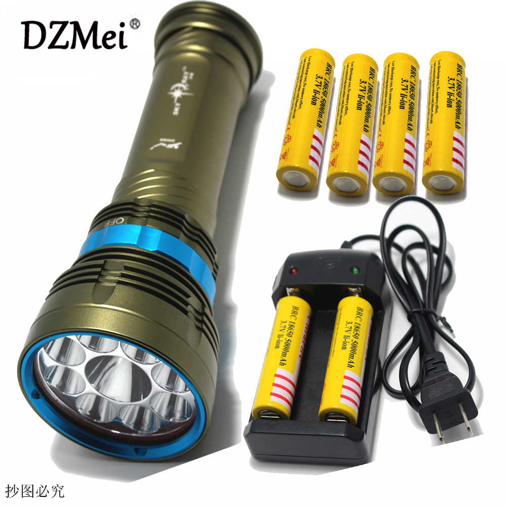 100% Original 18000 Lumen Diving Flashlight Underwater 100M Waterproof Torch 9 x  XM-L2 LED Flashlight + battery+charger