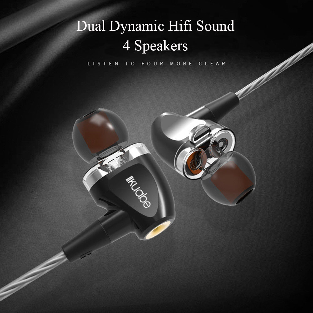 Wired Earphones In Ear Dual Dynamic Super Bass Passive Noise Reduction Music Headset With Microphone 3 5mm Plug for PC Phone in Phone Earphones Headphones from Consumer Electronics