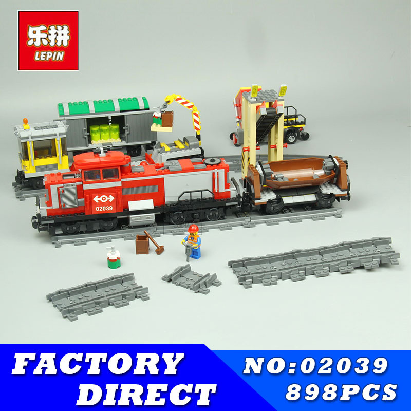 LEPIN 02039 898Pcs New City Series Red Cargo Train Set Building Blocks Bricks Educational Children Toys Model Gifts 3677 ynynoo lepin 02043 stucke city series airport terminal modell bausteine set ziegel spielzeug fur kinder geschenk junge spielzeug