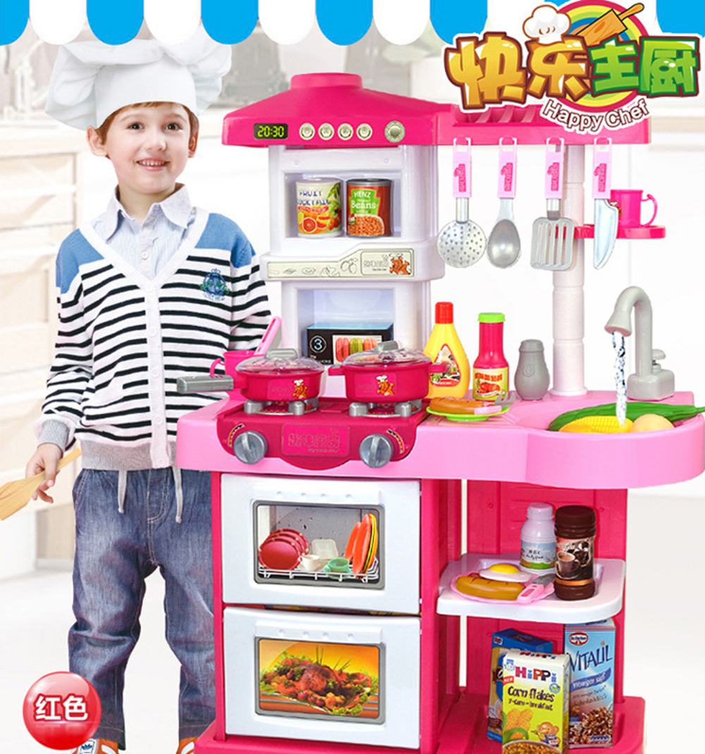 New 2 Types 1 Sets 37 Pcs Kitchen Plastic Pretend Play Food Children Toys With Music And Light Height is about 72 cm Toys Gifts (7)