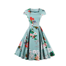 Women 2016 Summer Pin Up  Dress Short Sleeve Tunic Casual Vintage 1950s 60s Party Rockabilly Big Swing Long Floral Dresses