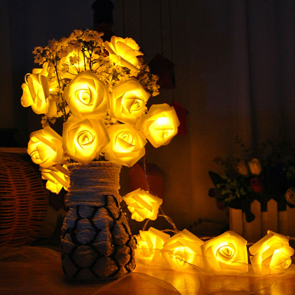 20LED 2m Mabor  Battery Operated LED Rose Flower Christmas Holiday String Lights For Valentine Wedding Party Garland Decoration