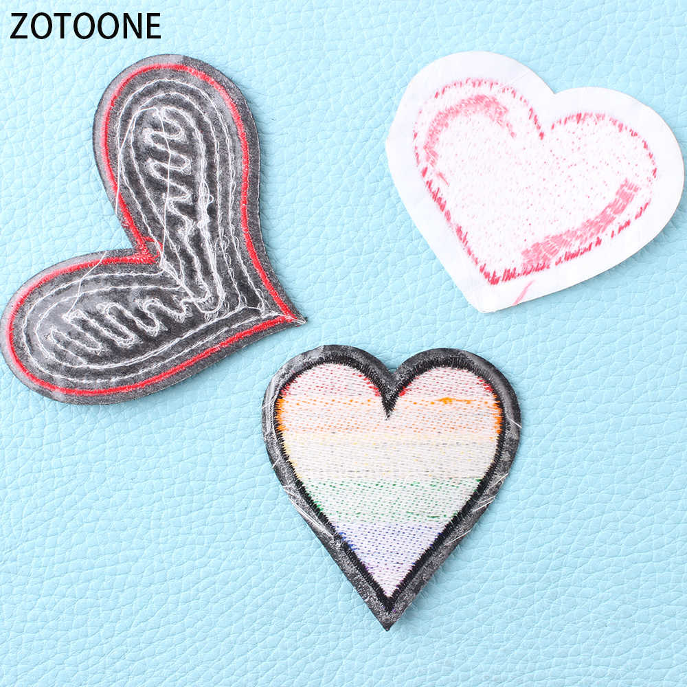 ZOTOONE Colorful Heart Patches for Clothing Wild Clothes Patch Applications  Diy Badges Hand-make Sewing Appliques for Garments E