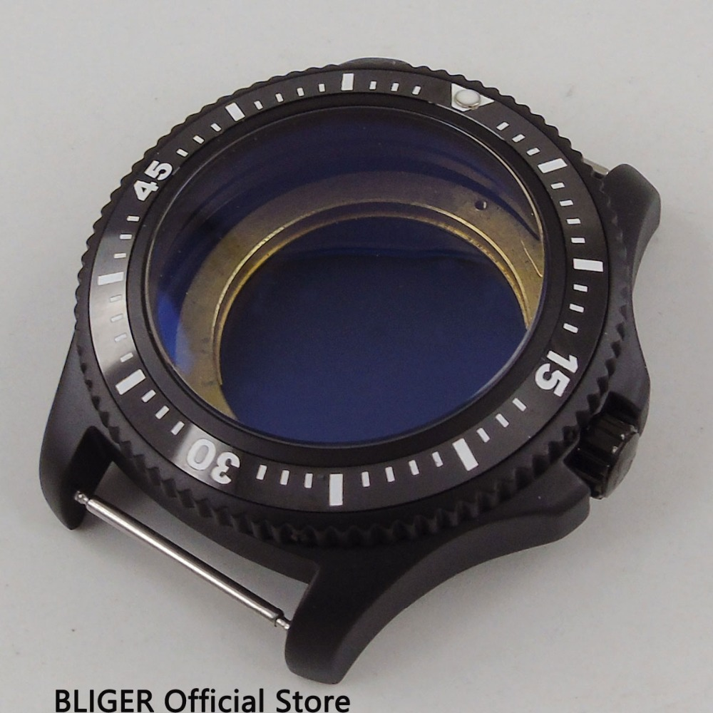 2018 New Arrival BLIGER 44MM Black Ceramic Rotating Bezel PVD Coated Watch Case Fit for ETA 2824 2836 MIYOTA 8215 821A Movement 42mm pvd coated case black aluminum alloy bezel watch case fit eta 2824 2836 dg2813 3804 miota 8215 8205 821a movement c18