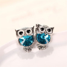 Fashion Cute Crystal Owl Girls Stud Earrings For Women Vintage Gold-Color Animal Statement Earrings wedding Jewelry earrings