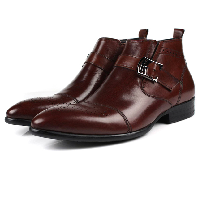 111e2abb9efb9 Large size fashion brand black brown tan mens boots double-buckle genuine  leather shoes mens dress boots mens ankle boots