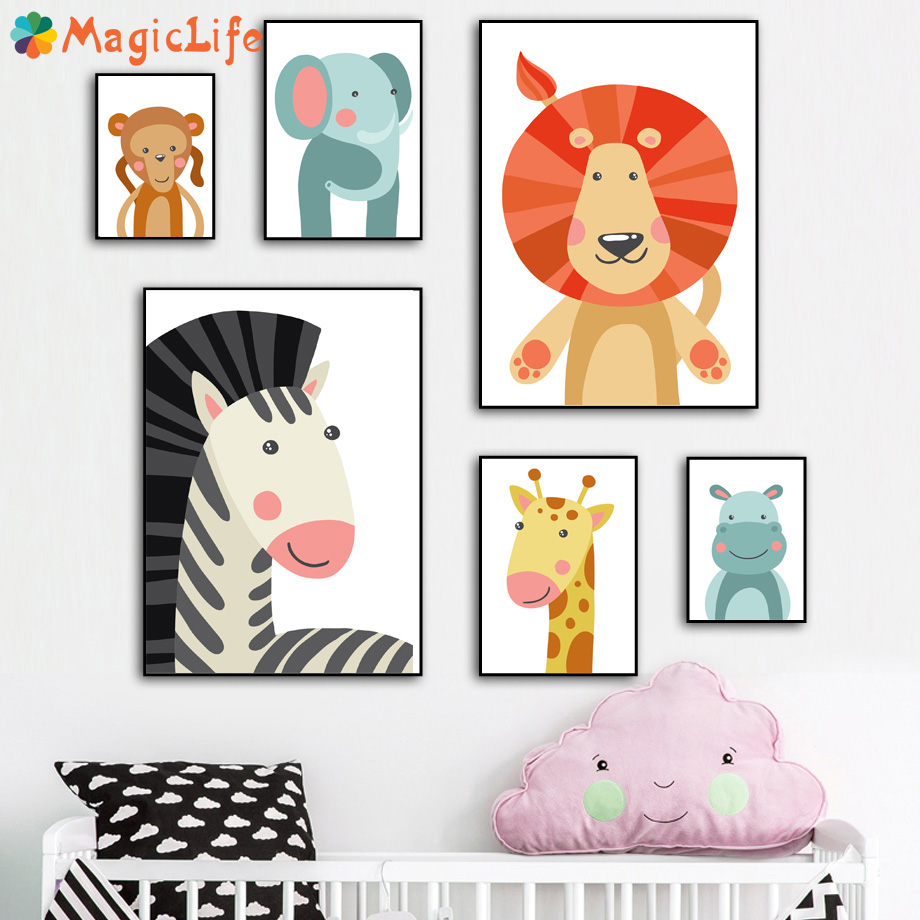 Cartoon Lion Zebra Monkey Giraffe Decor Wall Art Canvas Painting Nordic Posters Wall Pictures For Kids Room Decor Unframed in Painting Calligraphy from Home Garden