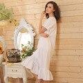 2017 Brand New Salão Sono Mulheres Pijamas Nightgowns Sexy Longo Maxi vestido de Robe Vestido de Casa Camisola Branca de Algodão Plus Size