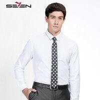 Seven7 mannen Dress Shirts 100% Katoen Lange Mouwen Slim Fit Formele Casual Shirt Mannelijke Witte Kleur Effen Shirts 113A30270