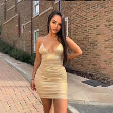 2019 new arrival women dresses Golden reflection sexy party femme vestidos