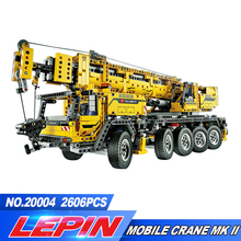 LEPIN 20004 2606Pcs Technic Motor Power Mobile Crane Mk II Model Building Kits Blocks Toy Bricks