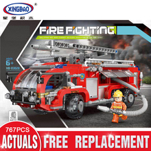 New XINGBAO 03028 City Toys Series The Airport Fire Truck Set Blocks Bricks Building Educational Toys Model Gift Funny Assembled lepin 02102 city series the mining experts site set with dump truck 60188 building blocks bricks funny toys model kids gifts