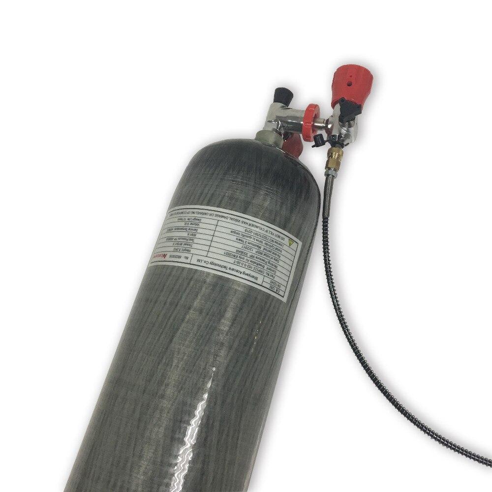 New diving 2018 9L 300bar 4500psi CE certificato serbatoio di gas in fibra di carbonio PCP airsoft SCBA cilindro con il rosso della valvola e valvola di stazione di riempimento