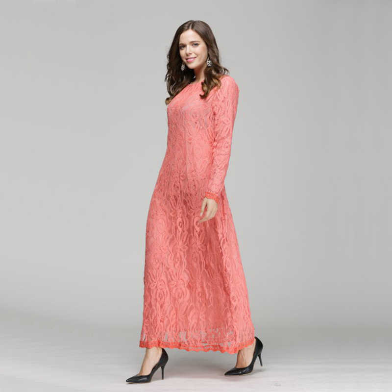 d8646901ac ... JOGTUME Lace Muslim Arab Robes 2017 Fashion Women Islamic Abaya Kaftan Dress  Long Sleeve Ladies Maxi ...