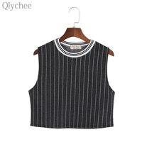 Summer Women Black Crop Top Sleeveless Female Striped Tank Top Lady Short T Shirt