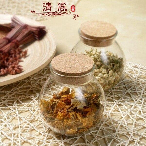 Cork flowers Chaguan moisture sealed cans creative Caddy / storage tank glass jars