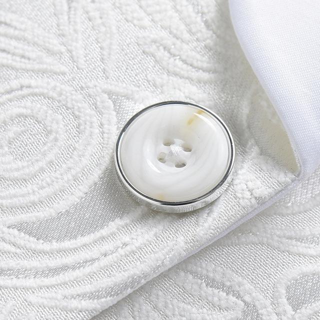 Men's Printed White Suit Blazer Jacket Coat