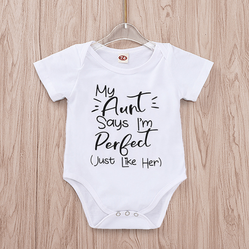 33a2d943b Tiny Cottons Summer 2019 White Onesie My Aunt Says I'm Perfect Letter Print  Newborn