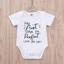 Tiny Cottons Summer 2019 White Onesie My Aunt Says Im Perfect Letter Print Newborn Bodysuits Auntie Baby Clothes