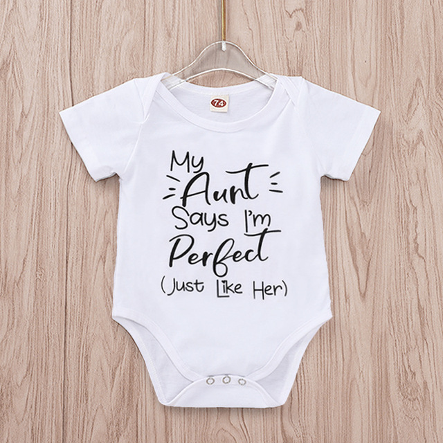 Tiny Cottons Summer 2019 White Onesie My Aunt Says I'm Perfect Letter Print Newborn Bodysuits Summer Auntie Baby Clothes