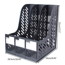 3 Sections Desktop Magazine File Rack Paper Book Hold Office Document Tray Box