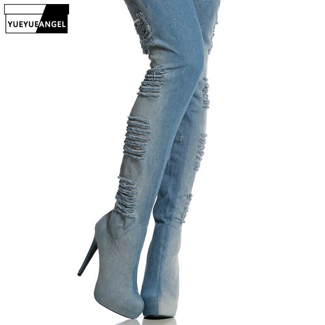 03c4a5071f657 2019 New Women Hole Ripped Jeans Over The Knee Boots Sexy Super High Heel  Stretchy Night Club Footwear Shoes Large Size 34-46