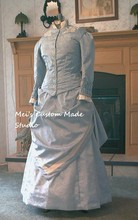 Custom Made Victorian Bustle Period Dress for Bride's Maid/Mother of the Bride/Traveling Costume/Stage Dress
