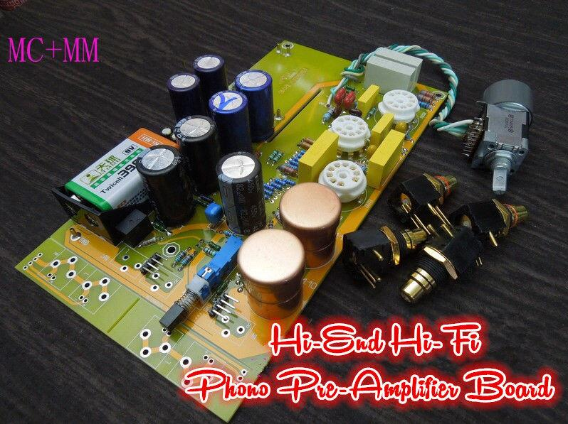 2016 Douk Audio HiFi MM+MC Phono Pre-Amplifier LP Vinyl Tube Phono Stage Preamp Board finished ct3 tube mm mc phono stage completed set