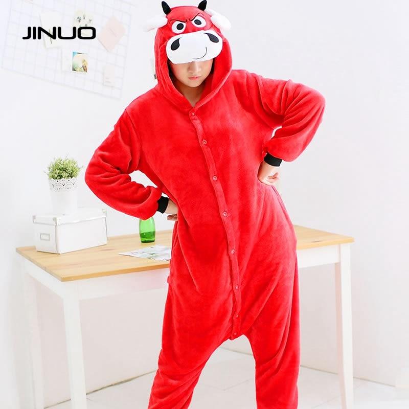 JINUO unisex Flannel Red Bulls onesie pajamas winter cartoon red Cattle pijamas women pijamas de animales de una sola pieza