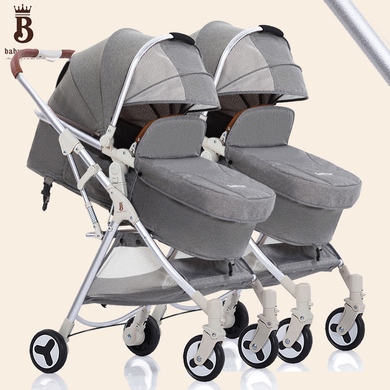 Twin baby strollers can sit reclining twin baby high landscape lightweight folding detachable double