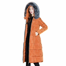 Parkas Long Section 2018 Autumn Winter New Large Fur Collar Loose Size Over The Knee Thickening Womens Cotton Coats