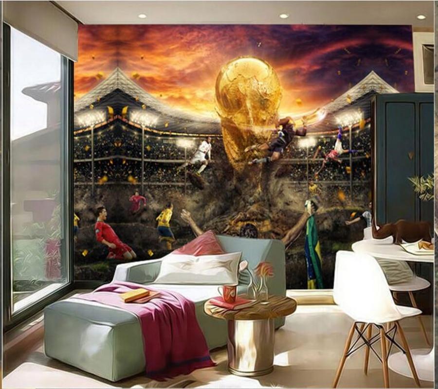 Customized children wallpaper, football frescoes for living room children's room sofa background papel de parede