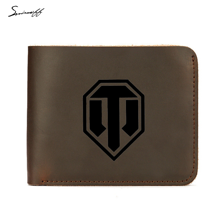Luxury Genuine Leather Men Wallet Credit ID Card Holders Purse Custom Name Wallets WORLD OF TANKS Engraved Logo Purse