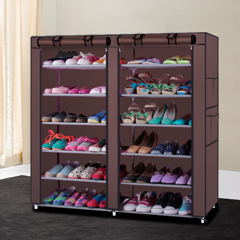 Multila Large Capacity DIY Shoe Rack Steel Pipe Non-woven Shoe Cabinet With Curtain For Living Room Or Doorway Storage closet