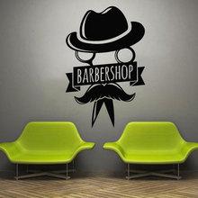 Barbershop Wall Decal Beauty Hair Salon Window Vinyl Sticker Male Man Hairstyle Style Beard Decoration BA19