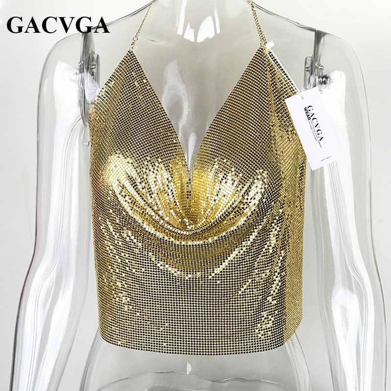 e6577602de0 ... GACVGA 2019 Sexy Backless Sequins Women Crop Tops Halter Tank Camis Summer  Cropped Bra Crop Top ...